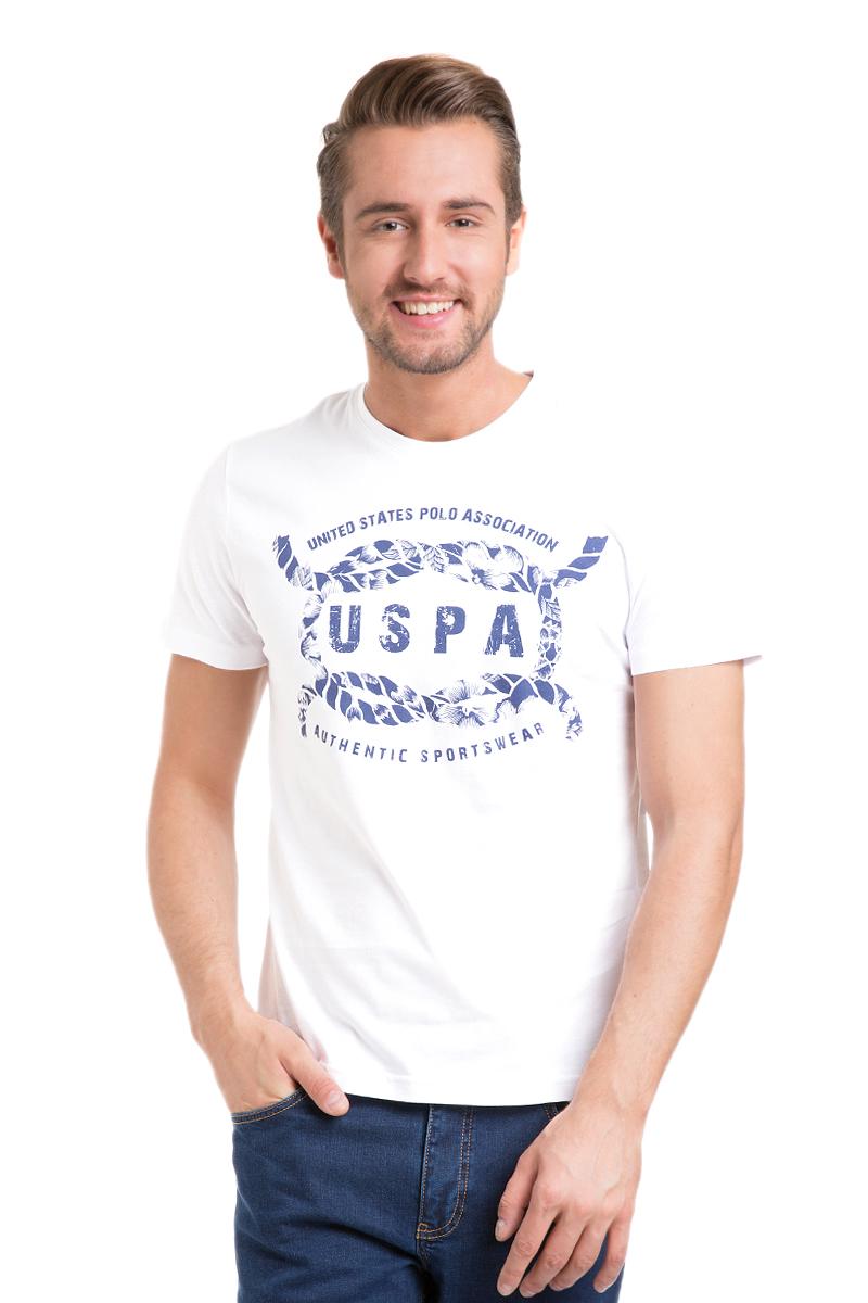 Футболка мужская U.S. Polo Assn., цвет: белый. G081GL0110KAROLEK_BY0001. Размер M (50)G081GL0110KAROLEK_BY0001Мужская футболка с короткими рукавами и круглым вырезом горловины выполнена из натурального хлопка. Модель спереди оформлена принтом.