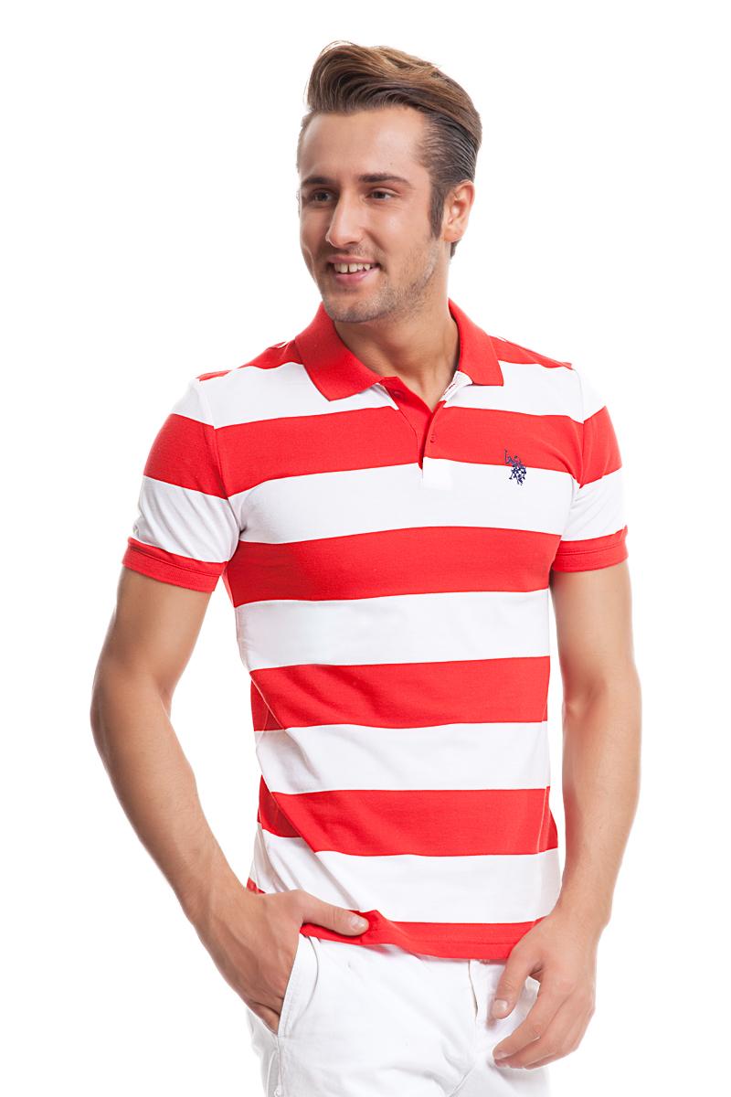 Поло мужское U.S. Polo Assn., цвет: красный, белый. G081GL0110REDDING_KR0151. Размер S (48)G081GL0110REDDING_KR0151Стильная футболка-поло с короткими рукавами и отложным воротником выполнена из натурального хлопка. На груди модель застегивается на пуговицы.