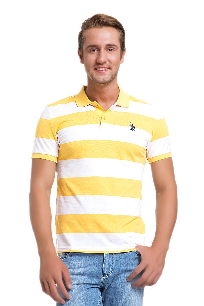 Поло мужское U.S. Polo Assn., цвет: желтый, белый. G081GL0110REDDING_SR0135. Размер L (52)G081GL0110REDDING_SR0135Стильная футболка-поло с короткими рукавами и отложным воротником выполнена из натурального хлопка. На груди модель застегивается на пуговицы.