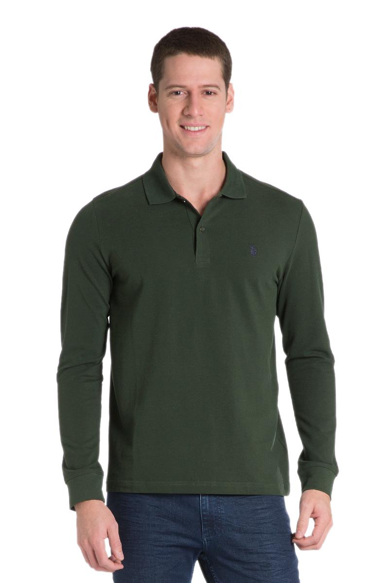 Поло с длинным рукавом мужское U.S. Polo Assn., цвет: зеленый. G081GL0820GTP01SK6_VR079. Размер M (50)G081GL0820GTP01SK6_VR079Мужское поло с длинными рукавами и отложным воротником выполнено из натурального хлопка. На груди модель застегивается на пуговицы.