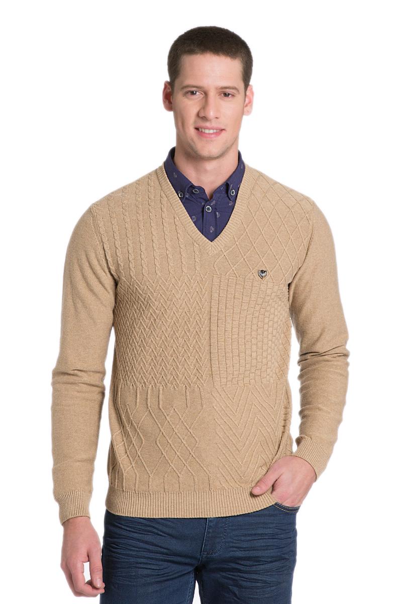 Пуловер мужской U.S. Polo Assn., цвет: бежевый. G081SZ0TK0DAVE_VR015. Размер M (50)G081SZ0TK0DAVE_VR015Мужской пуловер с длинными рукавами и V-образным вырезом горловины выполнен из натурального хлопка.