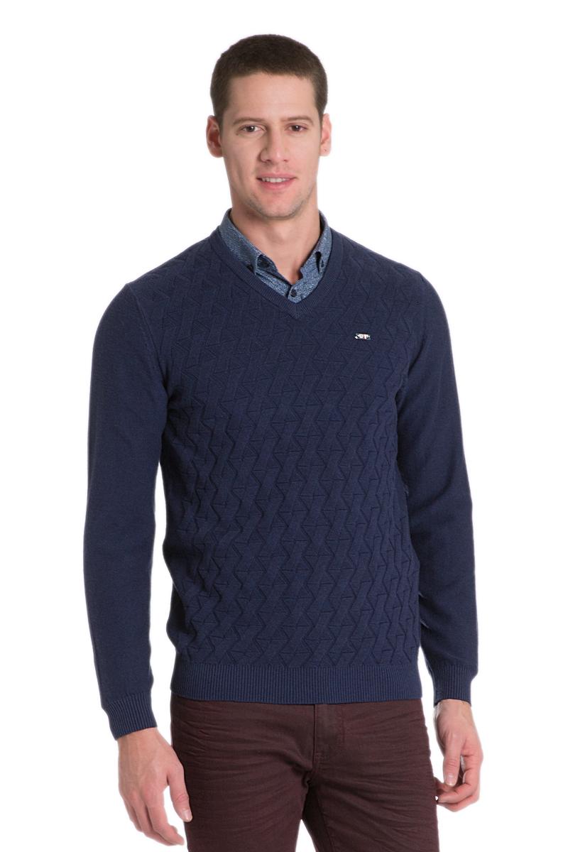 Пуловер мужской U.S. Polo Assn., цвет: темно-синий. G081SZ0TK0JOHN_VR033. Размер L (52)G081SZ0TK0JOHN_VR033Мужской пуловер с длинными рукавами и V-образным вырезом горловины выполнен из натурального хлопка. Модель оформлена фактурной вязкой.