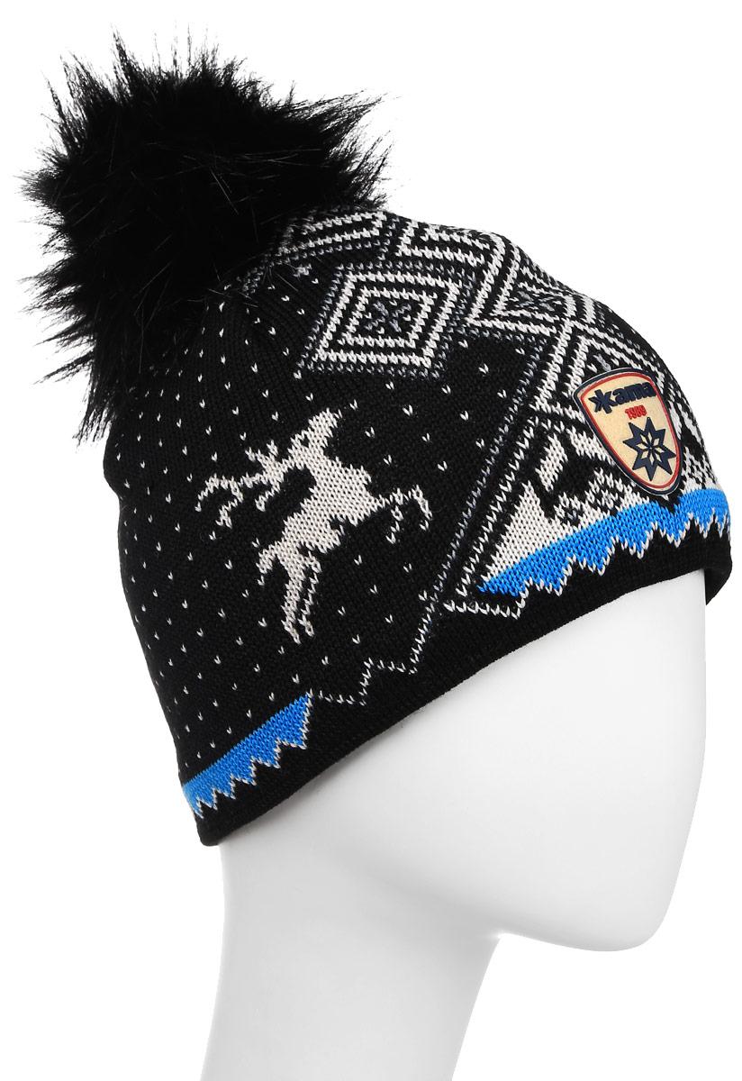 Шапка Kama Fashion Beanies, цвет: черный. A98_110. Размер универсальныйA98_110Стильная полушерстяная шапка с норвежским узором и меховым помпоном. Оригинальный орнамент отлично дополнит ваш гардероб.