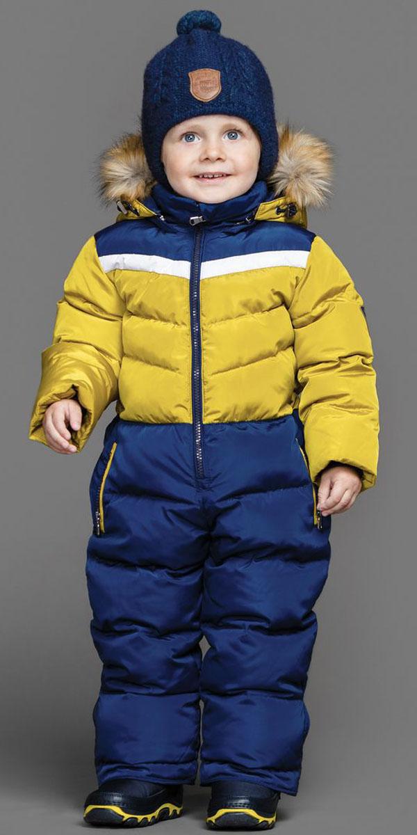 Комбинезон для мальчика Ёмаё, цвет: горчичный, синий. 36-103. Размер 11036-103