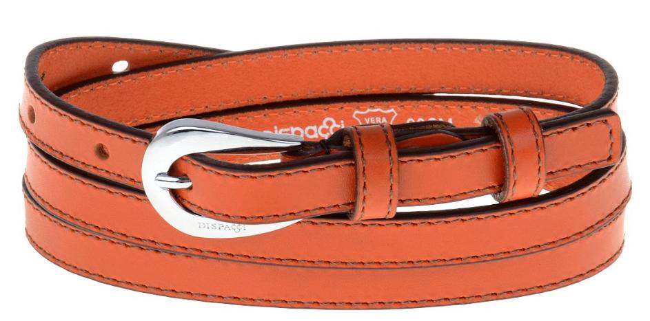 Ремень женский Dispacci, цвет: оранжевый. AR1155. Размер 90 смAR1155Ремень женский Dispacci выполнен из натуральной кожи. Классический ремень, интересная пряжка. Цвет фурнитуры серебро. Длину ремня можно регулировать.