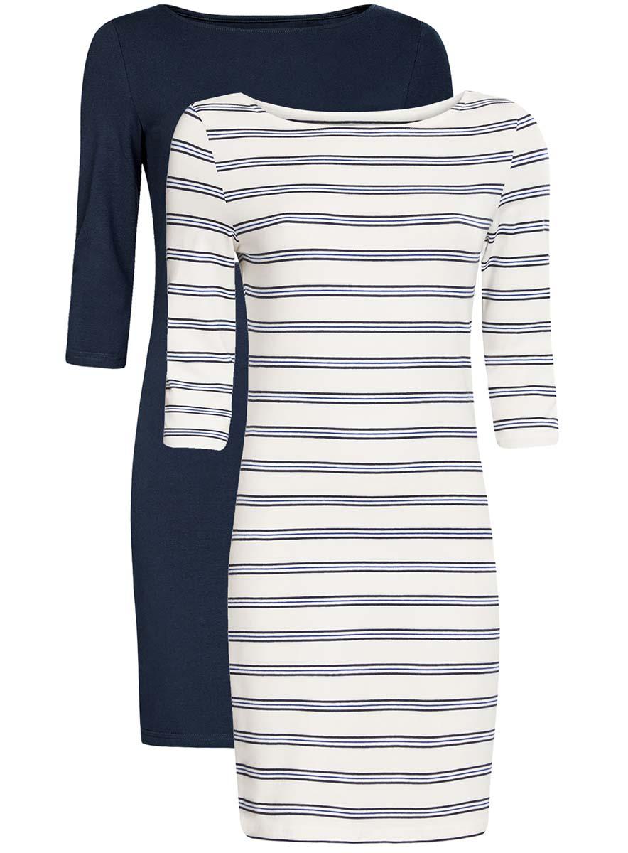 Платье oodji Ultra, цвет: темно-синий, белый, 2 шт. 14001071T2/46148/7912N. Размер L (48)14001071T2/46148/7912NКомплект из двух мини-платьев oodji Ultra изготовлен из хлопка с добавлением эластана. Обтягивающие платья с круглым вырезом и рукавами 3/4 выполнены в лаконичном дизайне. В комплекте два платья.