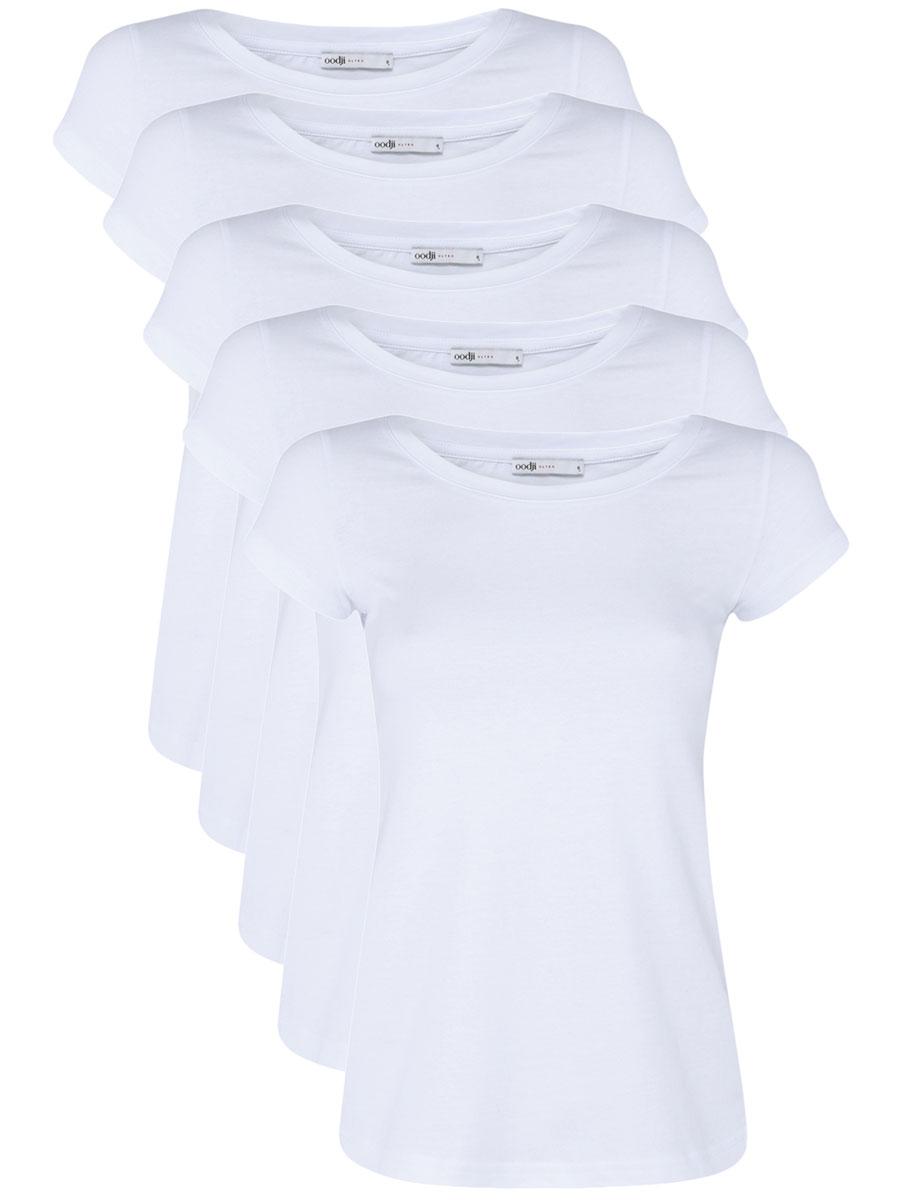 Футболка женская oodji Ultra, цвет: белый, 5 шт. 14701008T5/46154/1000N. Размер M (46)14701008T5/46154/1000NМодная женская футболка oodji Ultra изготовлена из натурального хлопка. Модель с круглым вырезом горловины и короткими рукавами выполнена в лаконичном дизайне.