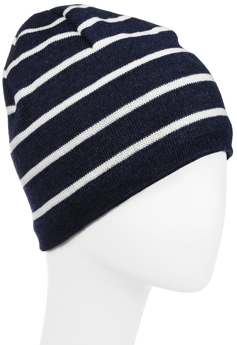 Шапка Kama Urban Beanies, цвет: синий. A77_108. Размер универсальныйA77_108Классическая шапка из 100% шерсти в полоску. Шерстяная шапка, с внутренней стороны изделия флисовая повязка для лучшего сохранения тепла.