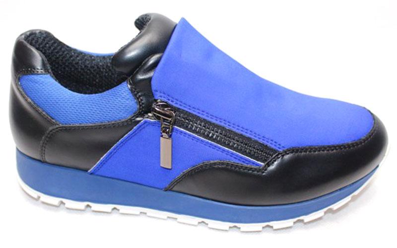 Кроссовки женские LK Collection, цвет: черный, синий. QTE005A PU. Размер 36QTE005A PUСтильные кроссовки выполнены из искусственной кожи и текстиля. Стелька выполнена из натуральной кожи. На подъеме модель фиксируется молниями.
