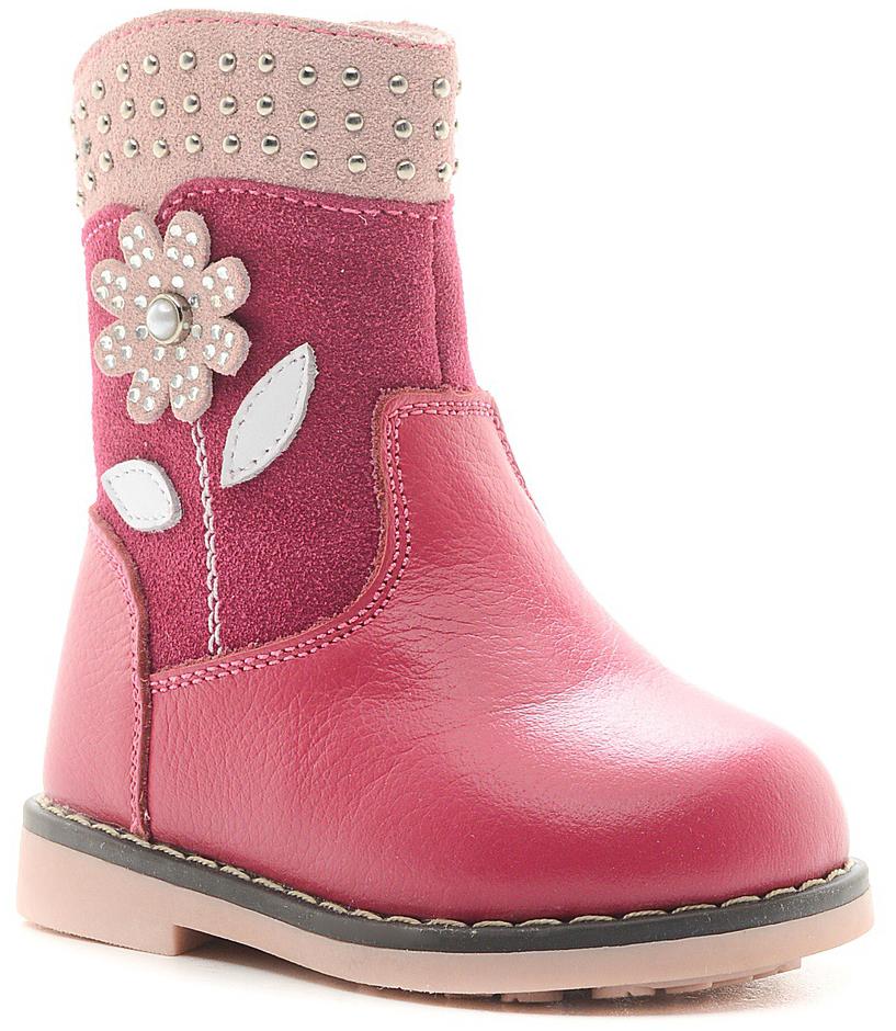 Сапоги для девочки Зебра, цвет: розовый. 11070-9. Размер 2111070-9Очаровательные сапоги для девочки от Зебра изготовлены из натуральной кожи. Модель оформлена аппликацией и декорирована стразами. На ноге модель фиксируется с помощью удобной застежки-молнии. Внутренняя поверхность и стелька выполнены из текстиля. Подошва изготовлена из гибкого и прочного ТЭП-материала.