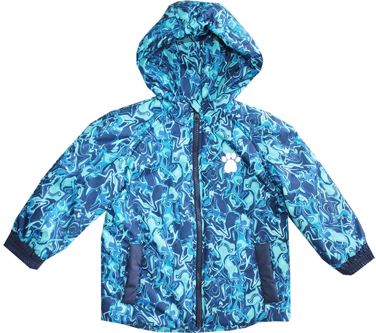 Куртка для мальчика КотМарКот, цвет: голубой, темно-синий. 25001. Размер 92/98, 2-3 года25001Куртка для мальчика КотМарКот c длинными рукавами и несъемным капюшоном выполнена из прочного полиэстера. Наполнитель - синтепон. Подкладка изготовлена из натурального хлопка. Модель застегивается на застежку-молнию спереди. Изделие имеет два втачных кармана спереди. Рукава оснащены эластичными манжетами. Куртка оформлена оригинальным абстрактным принтом и дополнена светоотражающими элементами спереди и на спинке.