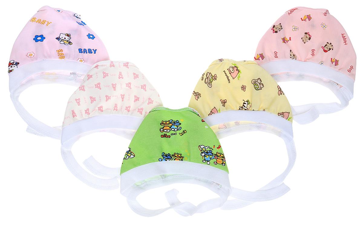 Чепчик для девочки Фреш Стайл, цвет: розовый, желтый, зеленый, светло-сиреневый, белый, 5 шт. 33-123д. Размер 4033-123дКомплект чепчиков для девочки Фреш Стайл выполнен из натурального хлопка и состоит из пяти штук. С помощью завязок можно регулировать обхват головы и шеи.Уважаемые клиенты!Размер, доступный для заказа, является обхватом головы.