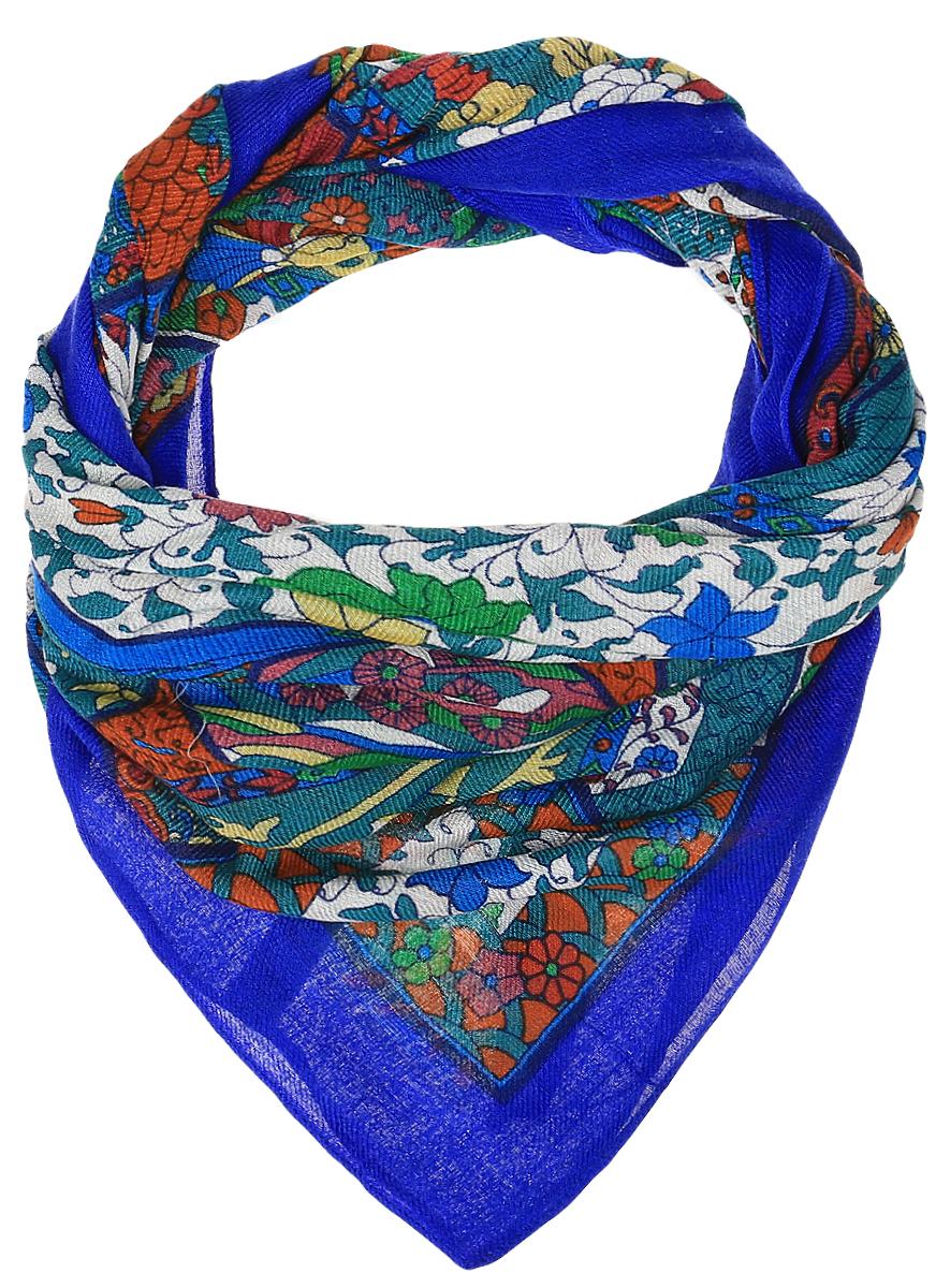 Платок женский Dispacci, цвет: синий, темно-бирюзовый. 4699ZI. Размер 120 см х 120 см4699ZIЭлегантный платок Dispacci выполнен из шерсти с добавлением вискозы. Оформлена модель оригинальным принтом.