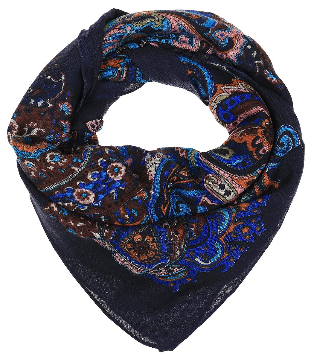 Платок женский Dispacci, цвет: темно-синий. 4704ZI. Размер 130 см х 130 см4704ZIЭлегантный платок Dispacci выполнен из шерсти с добавлением вискозы. Оформлена модель интересным орнаментом.