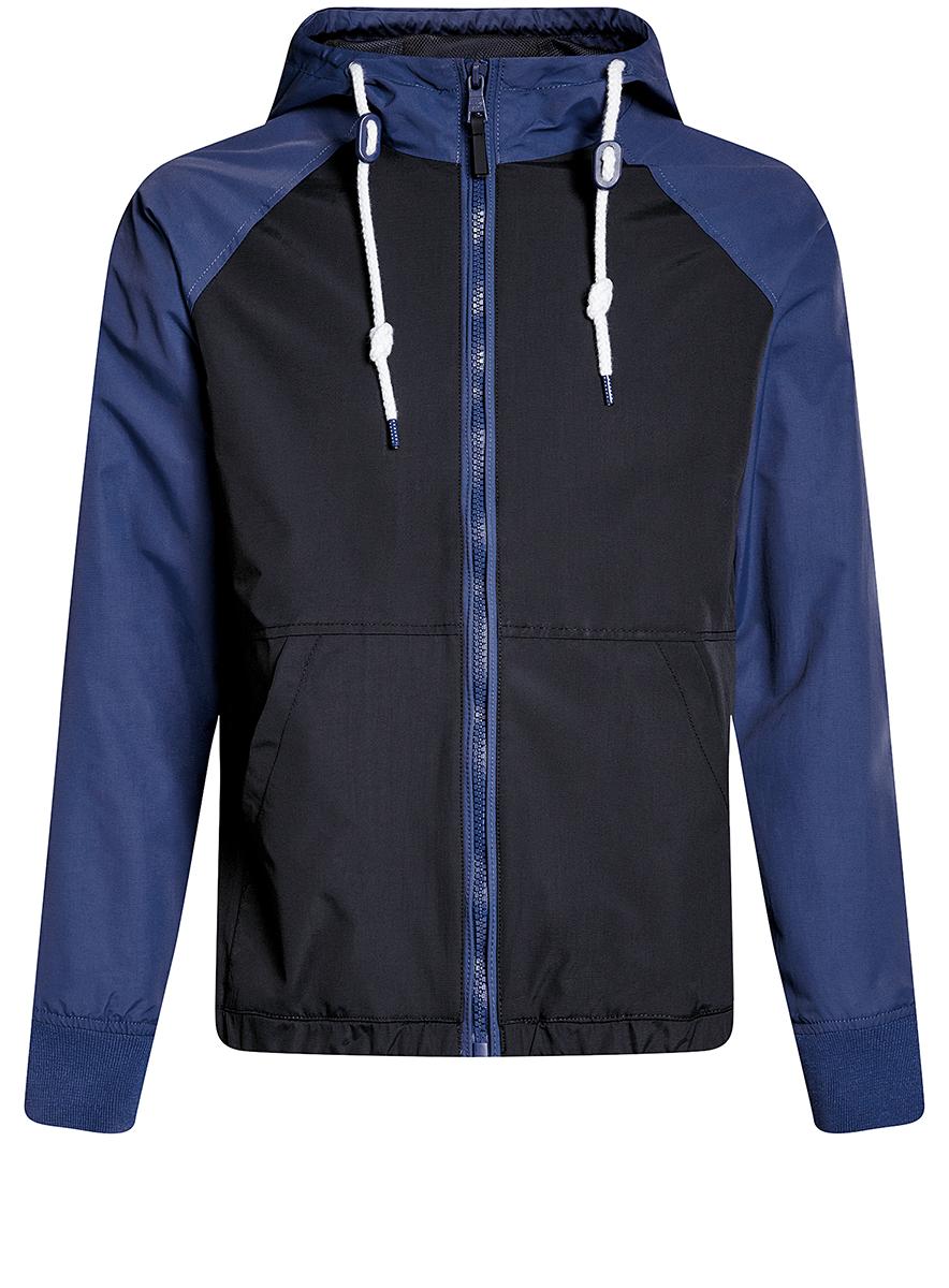Куртка мужская oodji Lab, цвет: темно-синий, синий. 1L512015M/46215N/7975B. Размер XL-182 (56-182)1L512015M/46215N/7975BМужская куртка oodji Lab выполнена из высококачественного материала. Модель с капюшоном застегивается на застежку-молнию. Спереди расположено два накладных кармана.