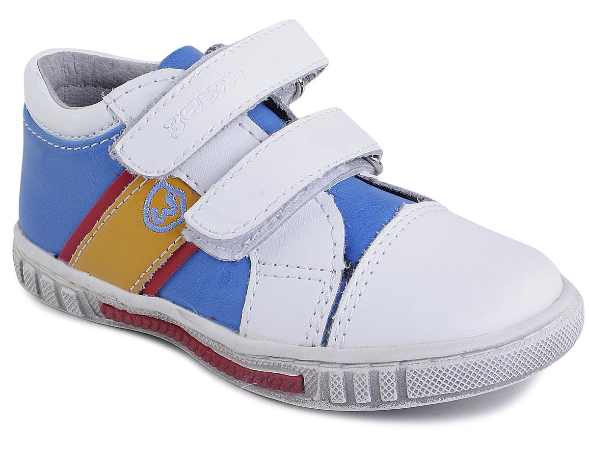 Полуботинки для мальчика Зебра, цвет: голубой, белый. 9448-6. Размер 279448-6Полуботинки от фирмы Зебра выполнены из натуральной и искусственной кожи. Застежки-липучки обеспечивают надежную фиксацию обуви на ноге ребенка. Подкладка и стелька из текстиля гарантируют комфорт. Подошва с рифлением обеспечивает идеальное сцепление с любыми поверхностями.