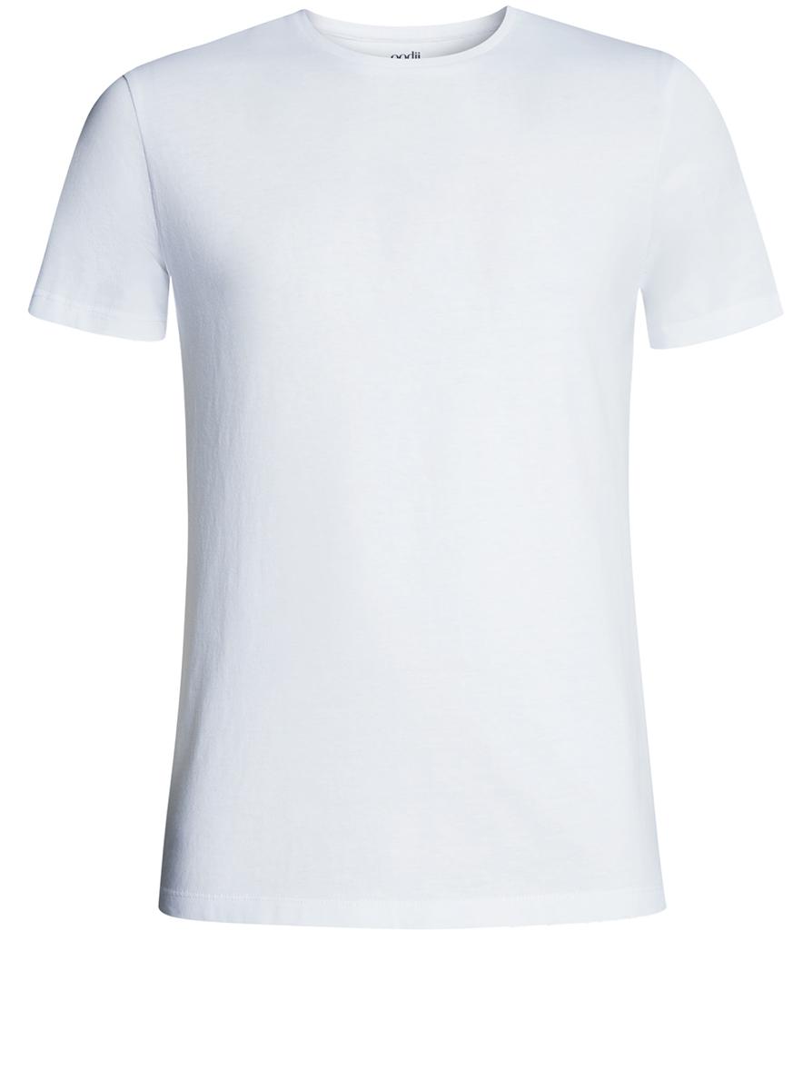 Футболка мужская oodji Basic, цвет: белый. 5B611003M/44239N/1000N. Размер XS (44)5B611003M/44239N/1000NКомфортная мужская футболка от oodji с короткими рукавами и круглым вырезом горловины выполнена из натурального хлопка.