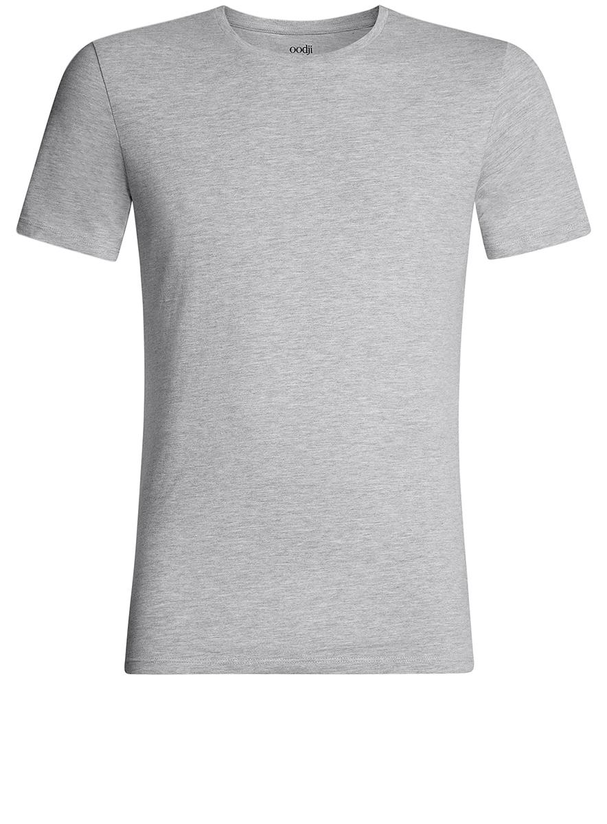 Футболка мужская oodji Basic, цвет: серый меланж. 5B611003M/44239N/2300M. Размер XS (44)5B611003M/44239N/2300MКомфортная мужская футболка от oodji с короткими рукавами и круглым вырезом горловины выполнена из натурального хлопка.