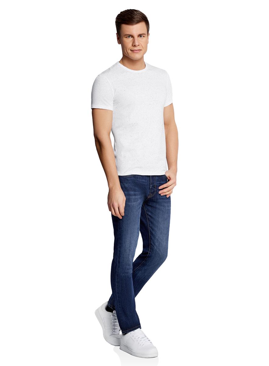 Футболка мужская oodji Lab, цвет: белый меланж. 5L611328M/46257N/1000M. Размер XL (56)5L611328M/46257N/1000MБазовая футболка с круглым вырезом горловины и короткими рукавами выполнена из натурального хлопка.