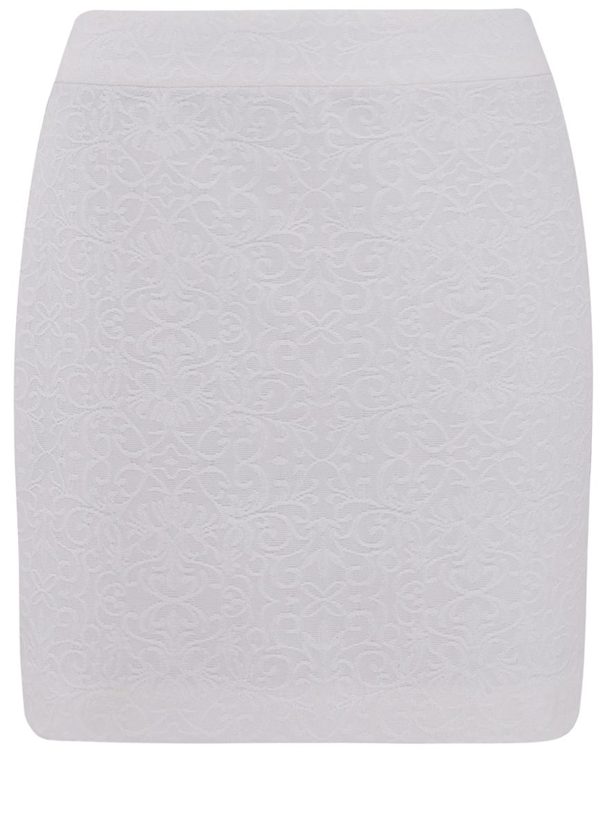 Юбка oodji Ultra, цвет: белый. 11601179-4/42591/1200N. Размер 44-170 (50-170)11601179-4/42591/1200NУкороченная юбка прямого покроя выполнена из высококачественного фактурного материала. Сзади модель застегивается на потайную застежку-молнию.