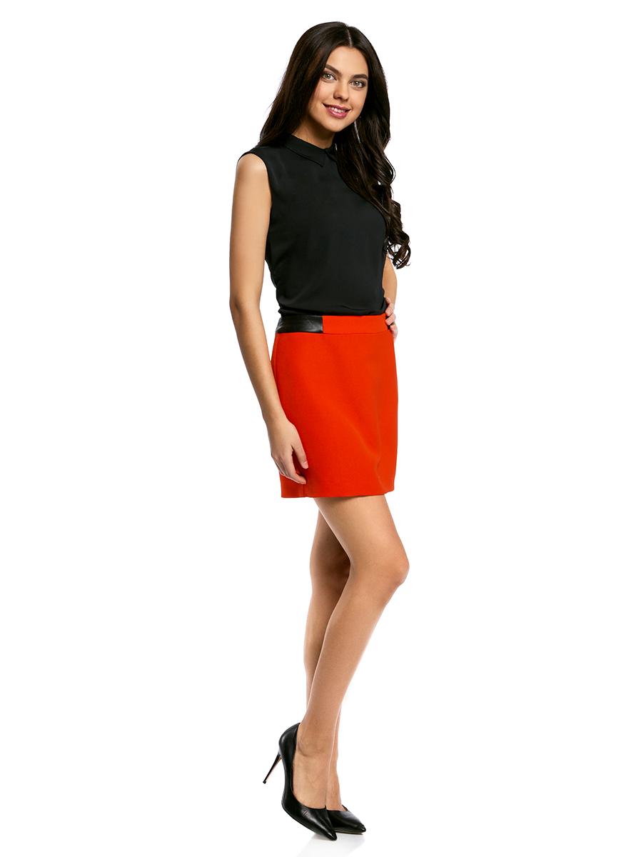 Юбка oodji Ultra, цвет: красный. 11601179-10/46415/4500N. Размер 36-170 (42-170)11601179-10/46415/4500NСтильная мини-юбка выполнена из высококачественного материала. На поясе модель дополнена вставками из искусственной кожи. Сзади юбка застегивается на металлическую застежку-молнию.
