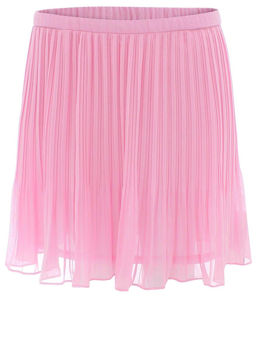 Юбка oodji Ultra, цвет: светло-розовый. 11605055M/15018/4000N. Размер 40-170 (46-170)11605055M/15018/4000NОчаровательная плиссированная юбка выполнена из легкого полупрозрачного материала.