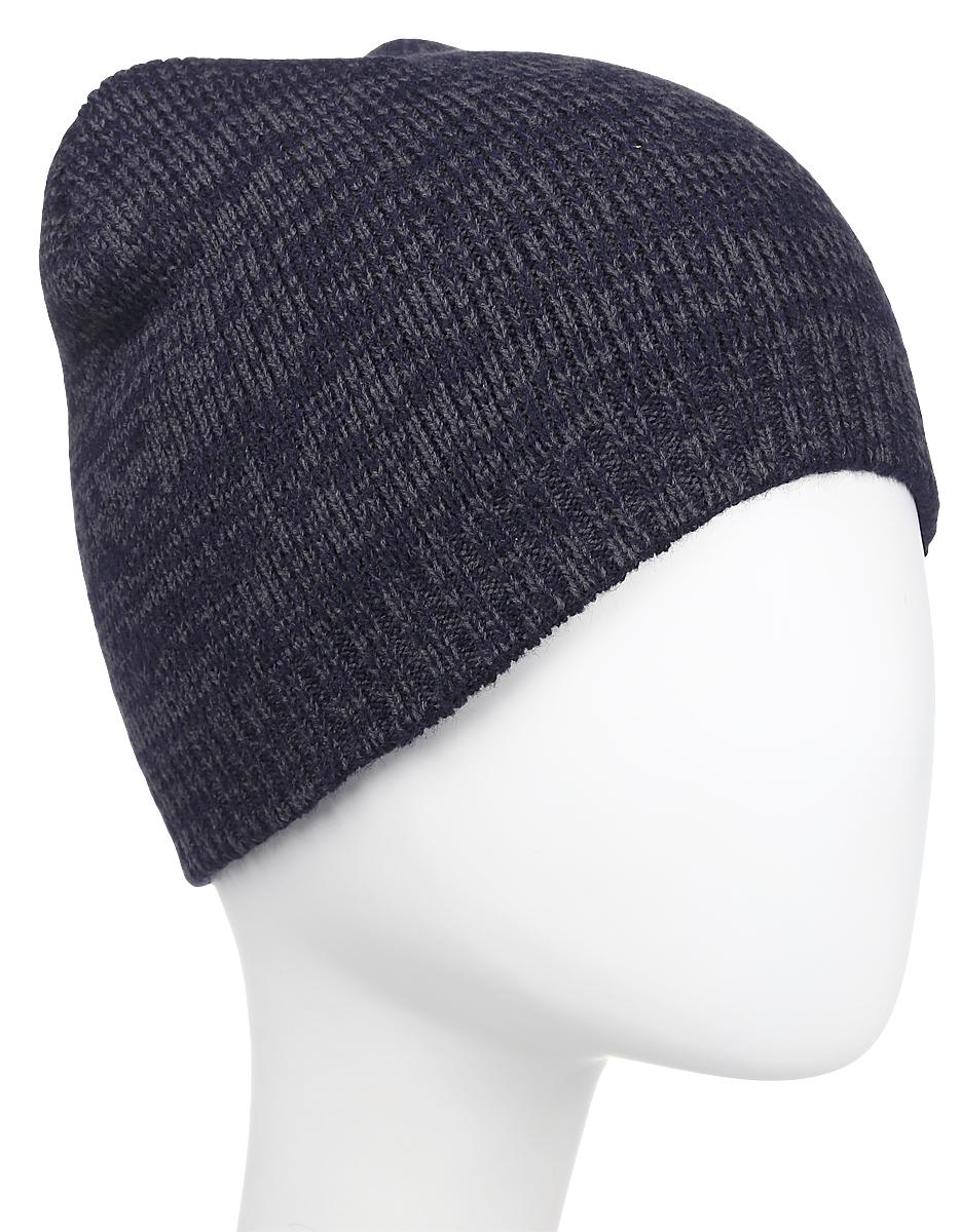Шапка Converse Twisted Knit Beanie, цвет: темно-синий, темно-серый. 527475. Размер универсальный527475Стильная вязаная шапка Converse Twisted Knit Beanie дополнит ваш наряд и не позволит вам замерзнуть в прохладное время года. Шапка выполнена из высококачественного акрила. Модель понизу связана резинкой. Спереди шапка оформлена фирменной нашивкой.