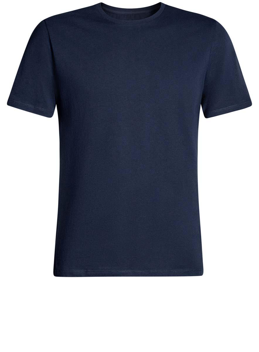 Футболка мужская oodji Basic, цвет: темно-синий. 5B611003M/44239N/7900N. Размер XS (44)5B611003M/44239N/7900NКомфортная мужская футболка от oodji с короткими рукавами и круглым вырезом горловины выполнена из натурального хлопка.