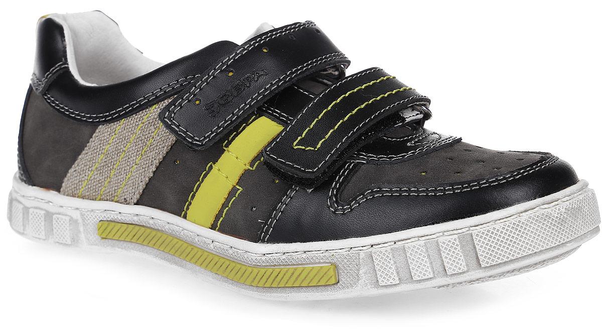 Полуботинки для мальчика Зебра, цвет: черный, серый, желтый. 9602-1. Размер 359602-1Ботинки от фирмы Зебра выполнены из натуральной комбинированной кожи. Застежки-липучки обеспечивают надежную фиксацию обуви на ноге ребенка. Подкладка выполнена из натуральной кожи, что предотвращает натирание и гарантирует уют. Стелька с поверхностью из натуральной кожи оснащена небольшим супинатором с перфорацией, который обеспечивает правильное положение ноги ребенка при ходьбе и предотвращает плоскостопие. Подошва с рифлением обеспечивает идеальное сцепление с любыми поверхностями.