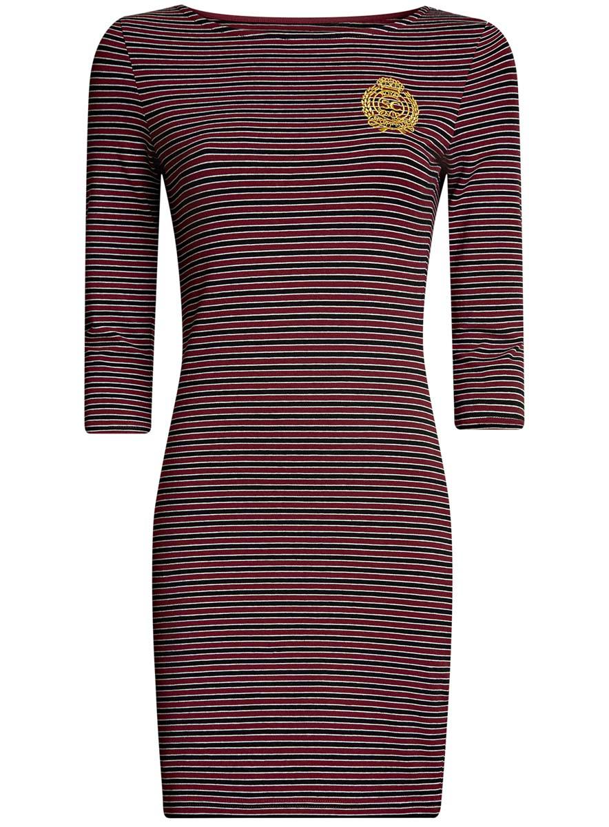 Платье oodji Ultra, цвет: бордовый, черный. 14001071-11/46148/4929S. Размер XXS (40-170)14001071-11/46148/4929SСтильное платье oodji Ultra, выполненное из эластичного хлопка, отлично дополнит ваш гардероб. Модель мини-длины с вырезом лодочкой и рукавами 3/4 оформлена принтом в полоску и стилизованной под герб вышивкой с надписью Royal Sport Club.