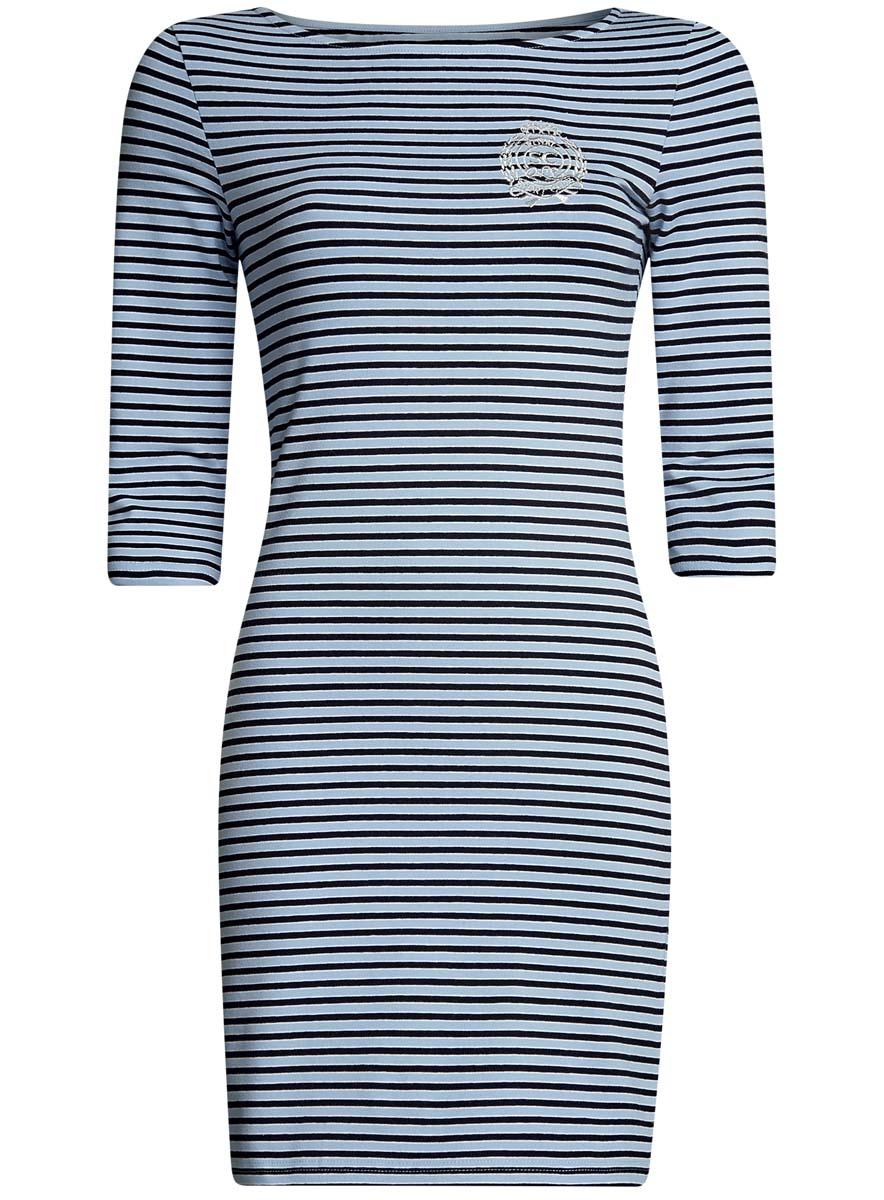 Платье oodji Ultra, цвет: голубой, черный. 14001071-11/46148/7029S. Размер L (48-170)14001071-11/46148/7029SСтильное платье oodji Ultra, выполненное из эластичного хлопка, отлично дополнит ваш гардероб. Модель мини-длины с вырезом лодочкой и рукавами 3/4 оформлена принтом в полоску и стилизованной под герб вышивкой с надписью Royal Sport Club.