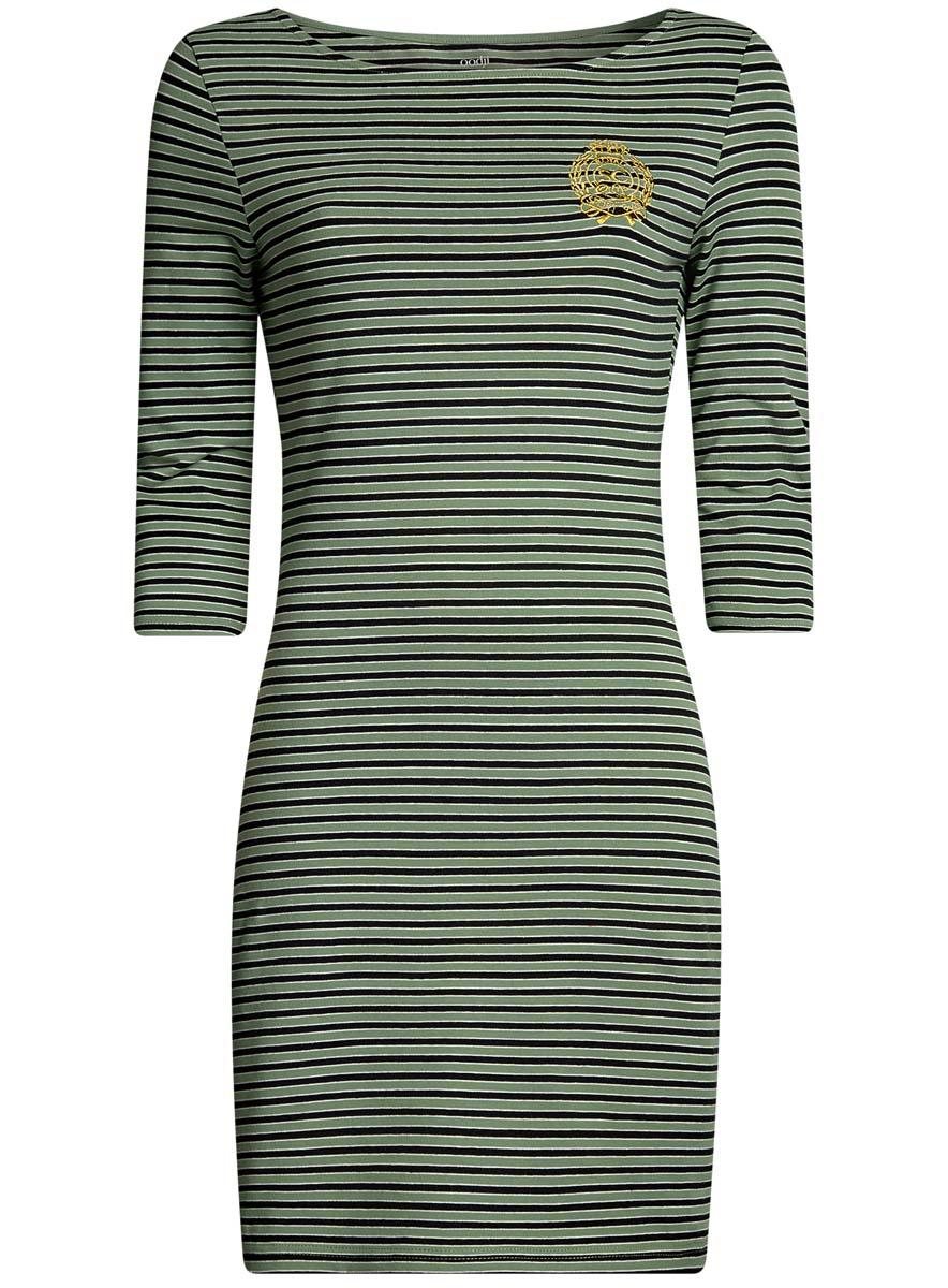 Платье oodji Ultra, цвет: хаки, черный. 14001071-11/46148/6729S. Размер L (48-170)14001071-11/46148/6729SСтильное платье oodji Ultra, выполненное из эластичного хлопка, отлично дополнит ваш гардероб. Модель мини-длины с вырезом лодочкой и рукавами 3/4 оформлена принтом в полоску и стилизованной под герб вышивкой с надписью Royal Sport Club.
