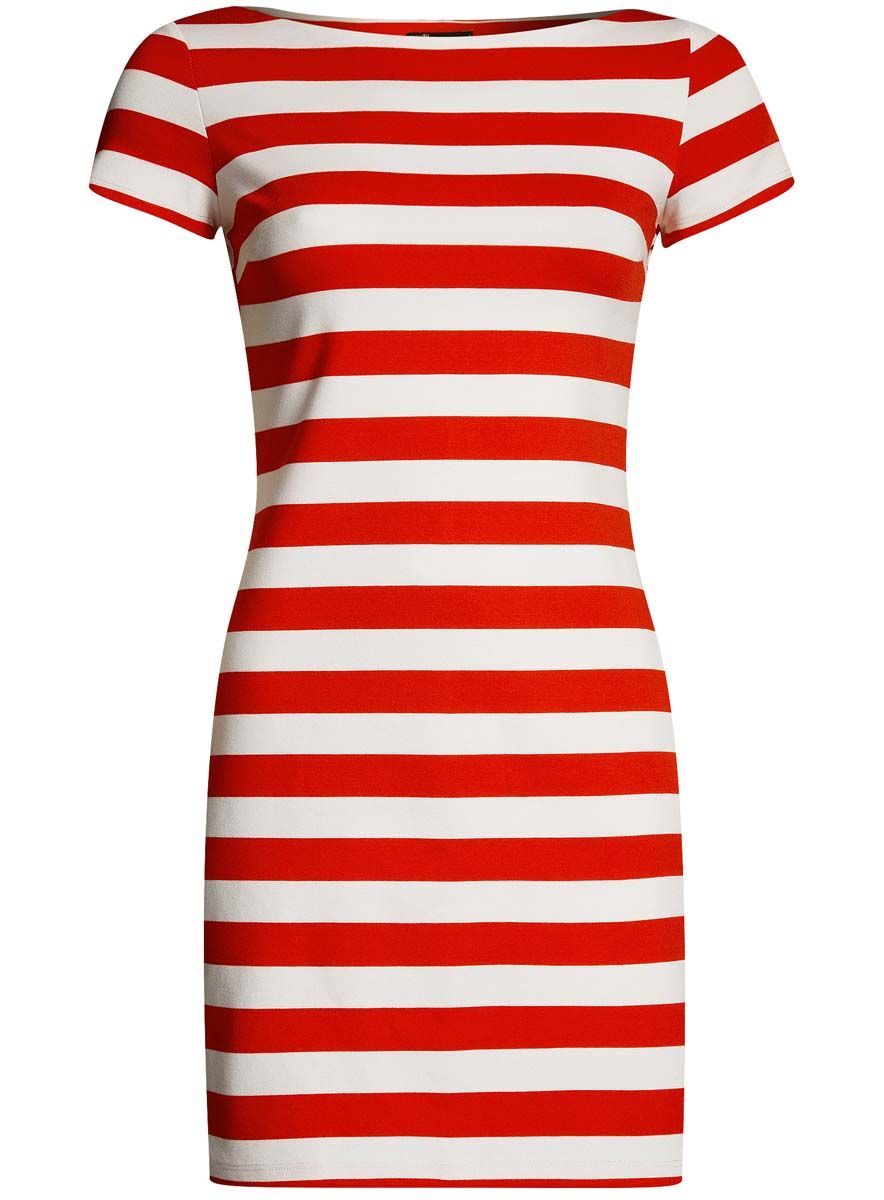Платье oodji Ultra, цвет: красный, белый. 14001117-10B/35477/4510S. Размер M (46-170)14001117-10B/35477/4510SСтильное платье oodji Ultra облегающего кроя выполнено из качественного трикотажа с узором в полоску. Модель мини-длины с вырезом-лодочкойи короткими рукавами выгодно подчеркивает достоинства фигуры.