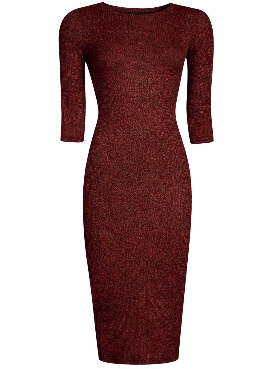 Платье oodji Ultra, цвет: красный, черный меланж. 14001169B/46370/4529M. Размер M (46-170)14001169B/46370/4529MОбтягивающее платье oodji Ultra выполнено из качественного трикотажа в мелкий рубчик. Модель средней длины с рукавами 3/4 и круглым вырезом горловины выгодно подчеркнет достоинства фигуры.