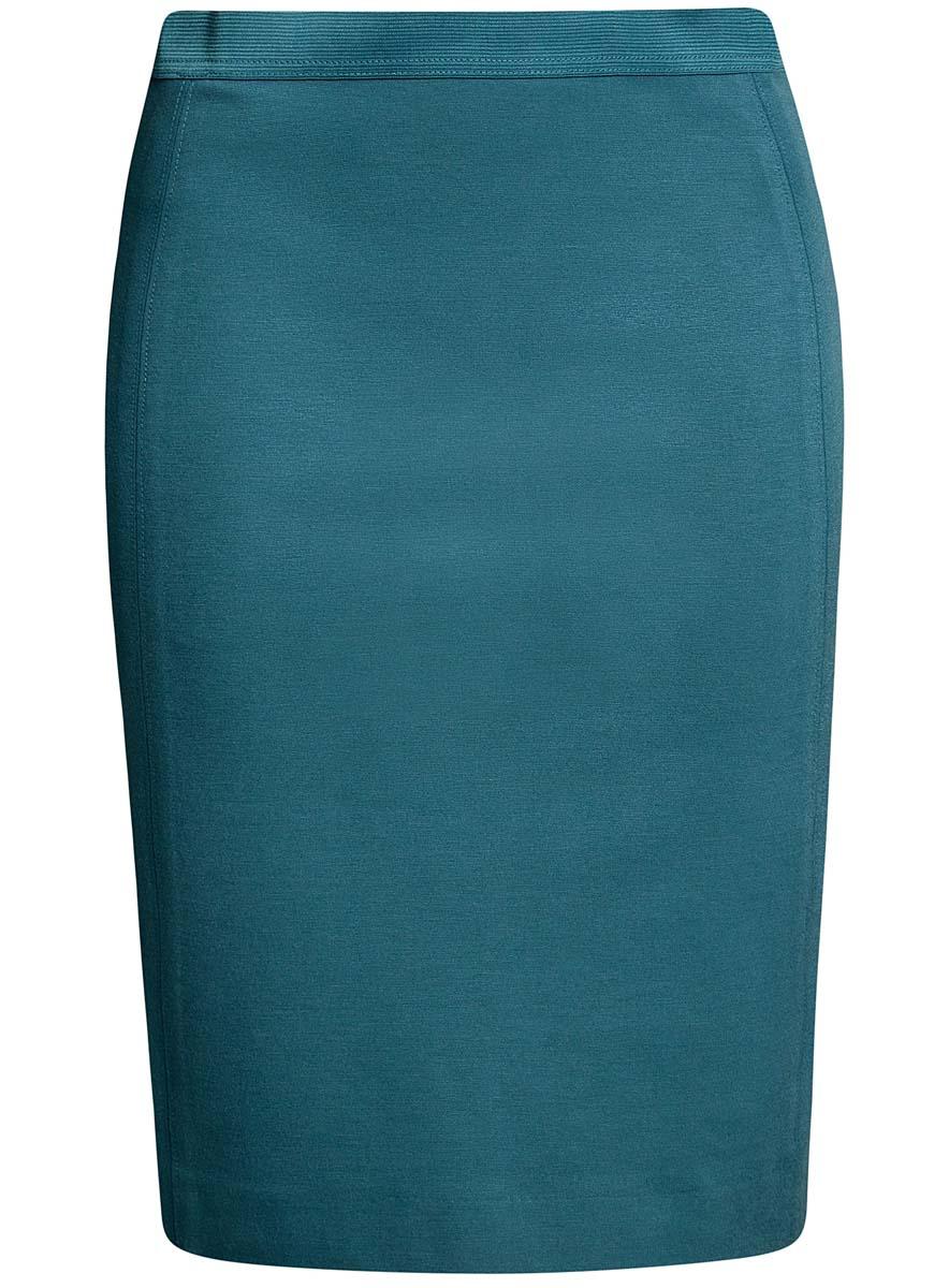 Юбка oodji Ultra, цвет: морская волна. 14101084/33185/6C00N. Размер XS (42)14101084/33185/6C00NСтильная юбка-карандаш выполнена из высококачественного материала. На поясе модель дополнена эластичной резинки, а сзади - шлицей.