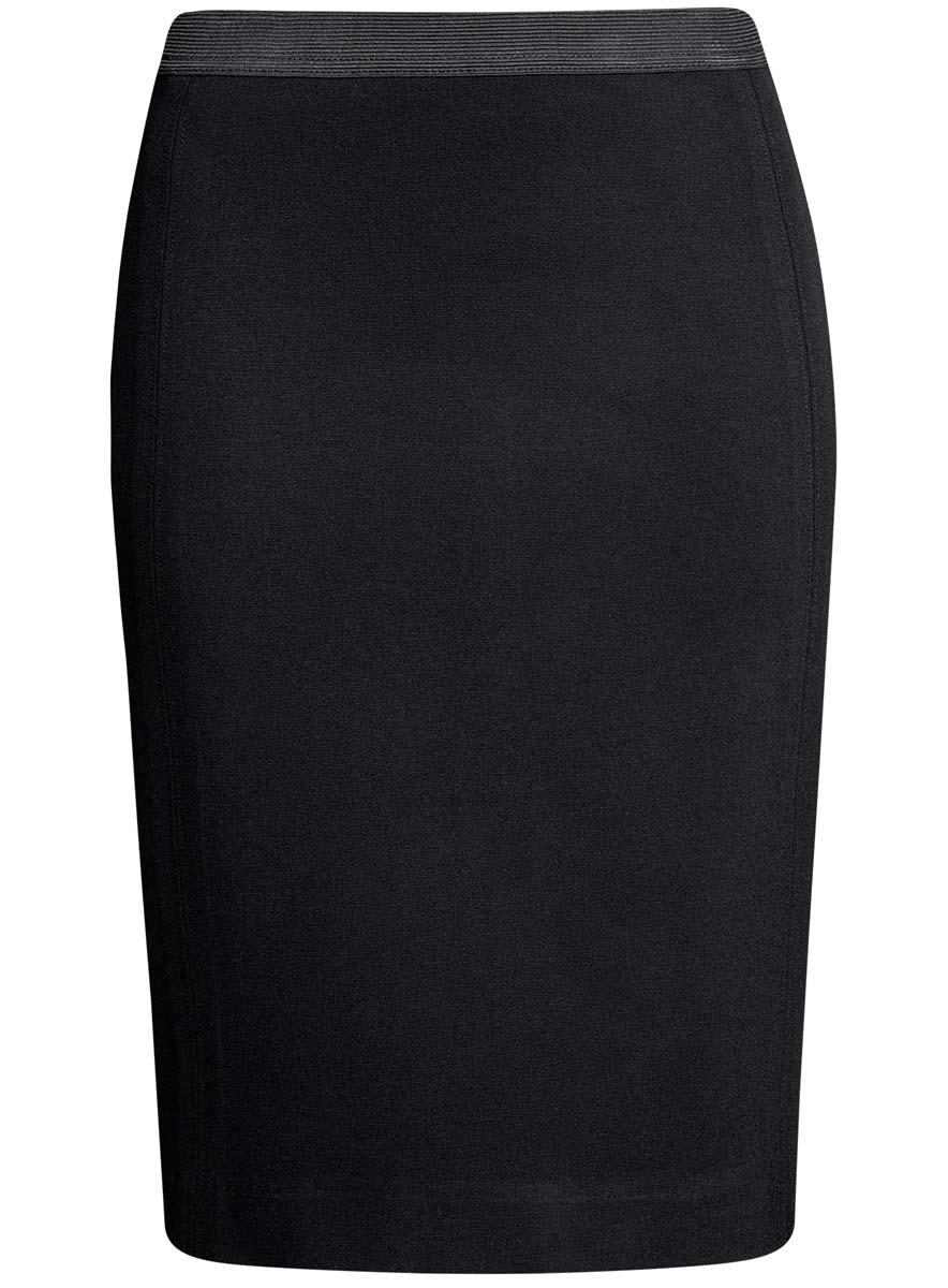 Юбка oodji Ultra, цвет: черный. 14101084/33185/2900N. Размер S (44)14101084/33185/2900NСтильная юбка-карандаш выполнена из высококачественного материала. На поясе модель дополнена эластичной резинки, а сзади - шлицей.
