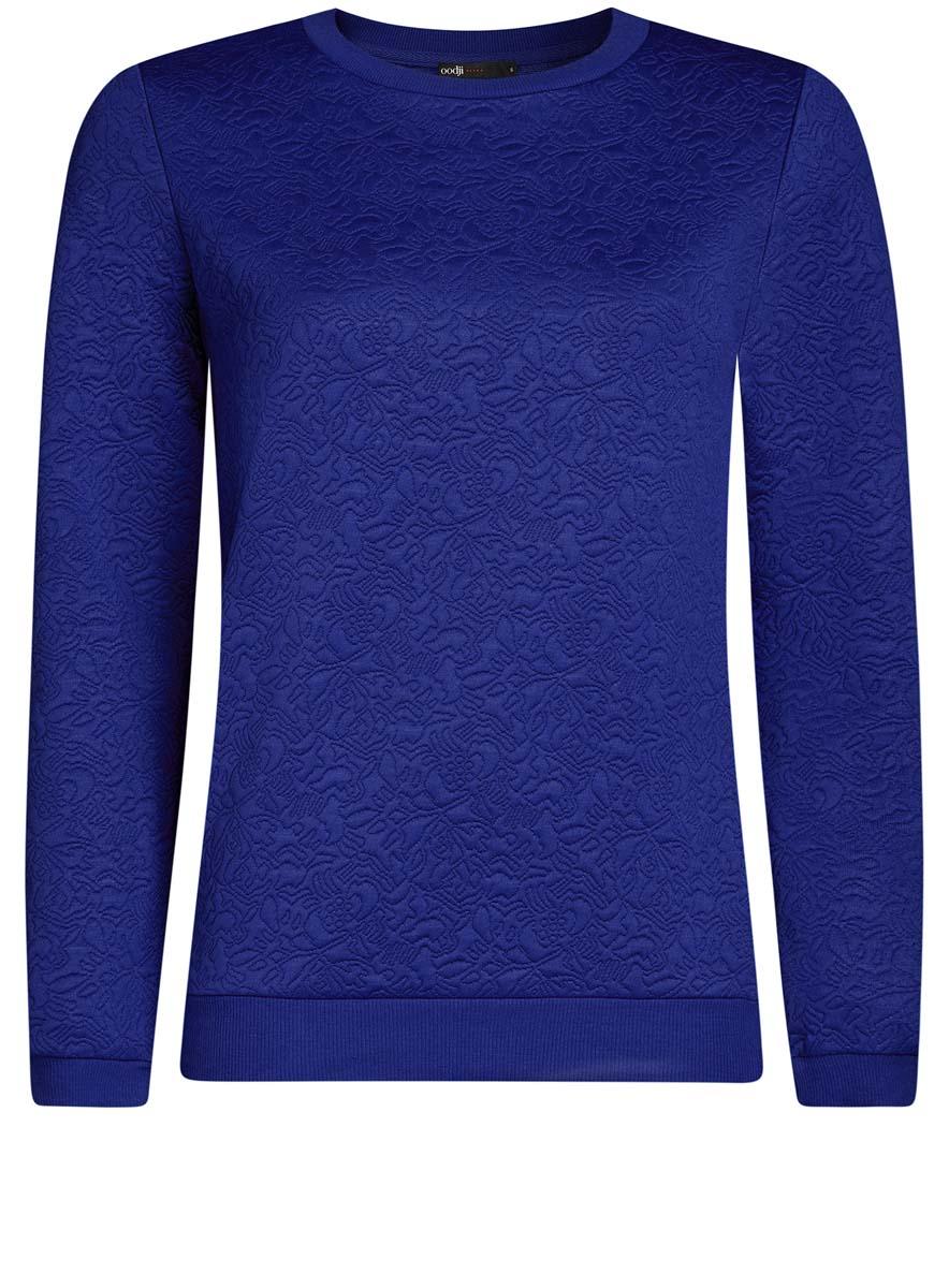 Свитшот женский oodji Ultra, цвет: синий. 14801037-3/46435/7500N. Размер XS (42)14801037-3/46435/7500NСвитшот прямого силуэта с круглым вырезом горловины и длинными рукавами выполнен из фактурной ткани.