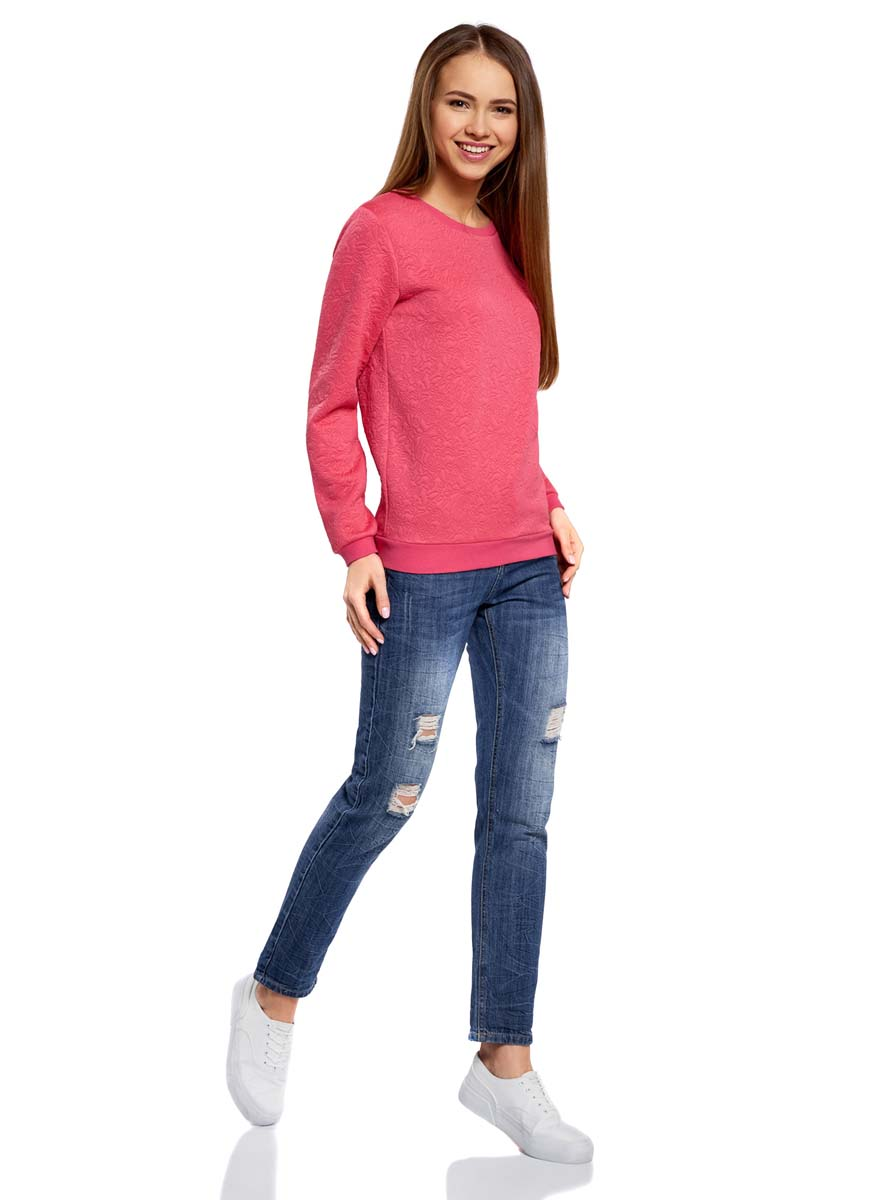 Свитшот женский oodji Ultra, цвет: ярко-розовый. 14801037-3/46435/4D00N. Размер XL (50)14801037-3/46435/4D00NСвитшот прямого силуэта с круглым вырезом горловины и длинными рукавами выполнен из фактурной ткани.