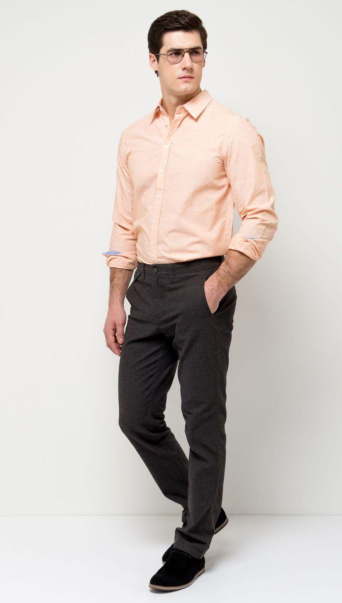 Брюки мужские Sela, цвет: угольно-серый. P-215/524-7171. Размер 46P-215/524-7171Стильные мужские брюки Sela, изготовленные из качественного хлопкового материала, станут отличным дополнением гардероба. Брюки зауженного кроя и стандартной посадки на талии застегиваются на застежку-молнию и пуговицу. На поясе имеются шлевки для ремня. Модель дополнена двумя прорезными и маленьким кармашком на пуговице спереди и двумя прорезными карманами на пуговицах сзади.