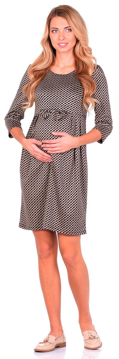Платье для беременных Nuova Vita, цвет: черный, бежевый. 2110.09 N.V.. Размер 482110.09 N.V.Платье Nuova Vita выполнено из вискозы, полиэстера и эластана. Модель с круглым вырезом горловины застегивается на молнию.