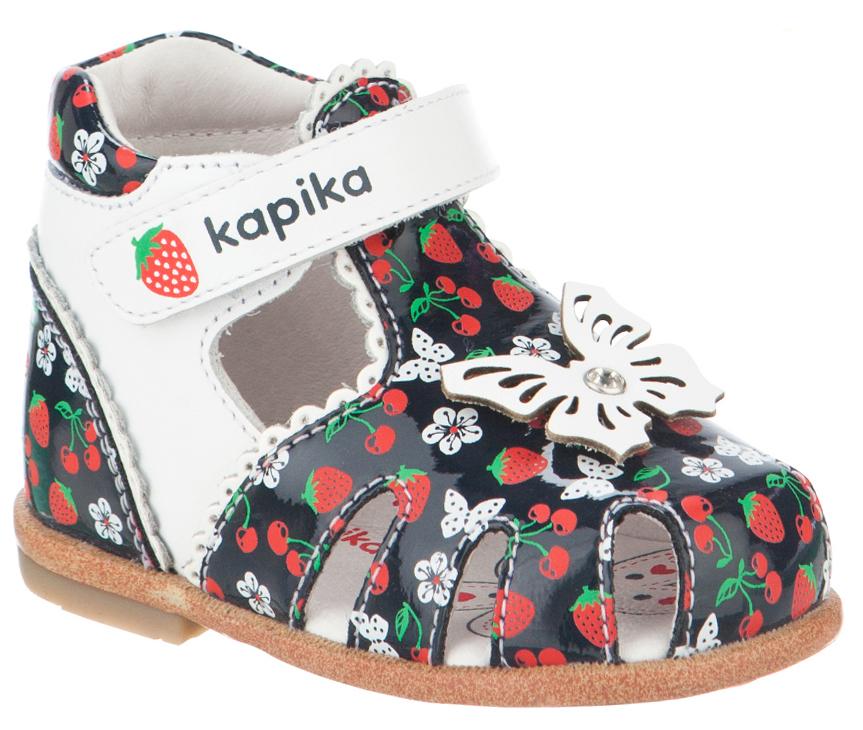 Сандалии для девочки Kapika, цвет: темно-синий, красный, белый. 10115к-2. Размер 1910115к-2Модные сандалии для девочки от Kapika выполнены из натуральной и искусственной кожи. Ремешок с застежкой-липучкой надежно зафиксирует модель на ноге. Мыс украшен декоративной бабочкой со стразом. Внутренняя поверхность и стелька из натуральной кожи обеспечат комфорт при движении. Подошва дополнена рифлением.