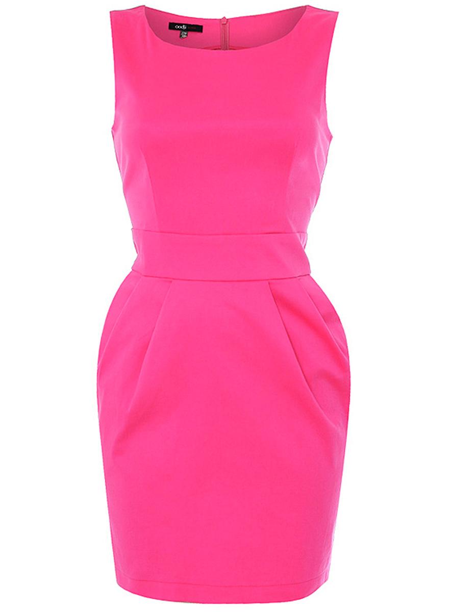 Платье oodji Ultra, цвет: ярко-розовый. 11902028-1/15978/4D00N. Размер 34-164 (40-164)11902028-1/15978/4D00NЯркое приталенное платье oodji Ultra, выгодно подчеркивающее достоинства фигуры, выполнено из качественной хлопковой ткани. Модель мини-длины на широких бретелях дополнена двумя прорезными карманами на юбке. Застегивается изделие на скрытую застежку-молнию на спинке.