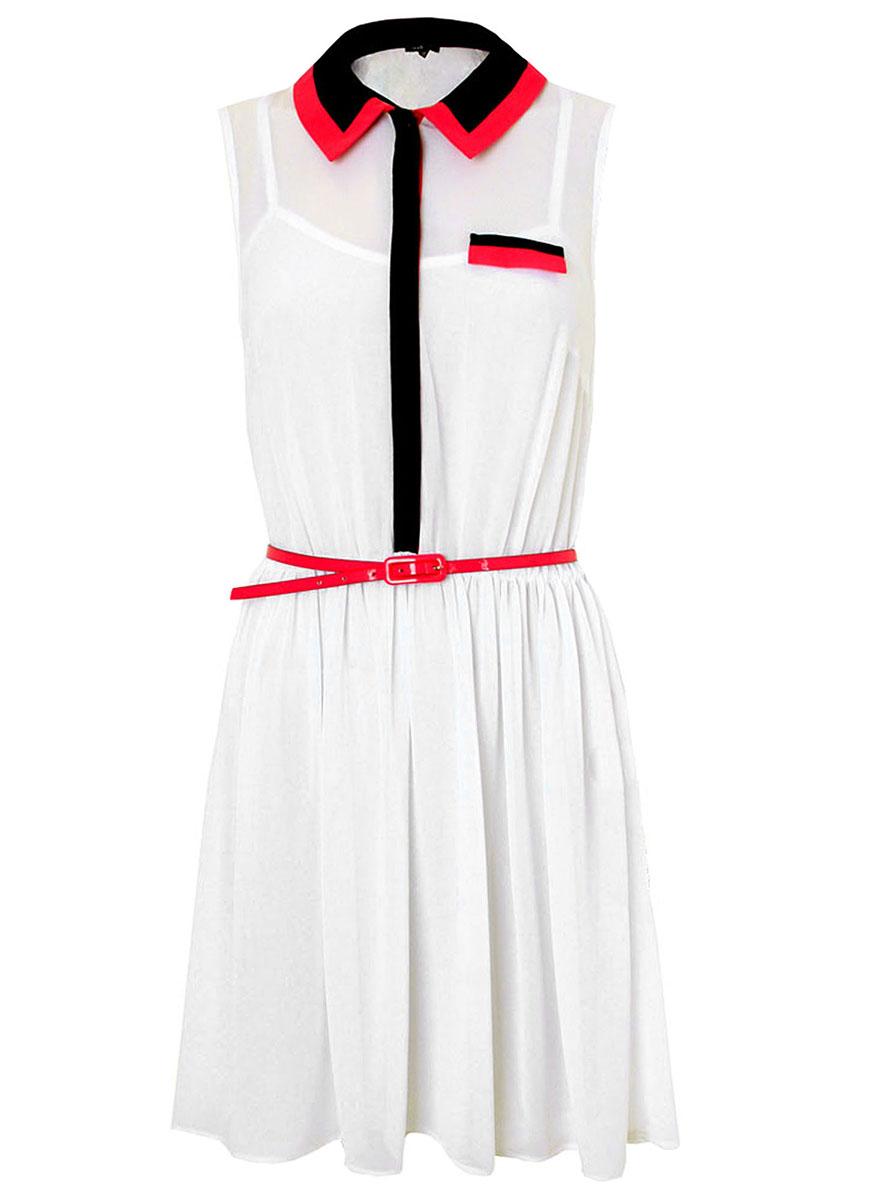 Платье oodji Ultra, цвет: белый. 11910057/17358/1000N. Размер 34-164 (40-164)11910057/17358/1000NОригинальное платье oodji Ultra выполнено из легкой воздушной ткани и застегивается на пуговицы на груди, скрытые контрастной планкой. Модель мини-длины с открытыми плечами имеет вшитую резинку на талии для лучшей посадки по фигуре и отложной воротничок контрастного цвета, дополненный широкими завязками. В комплект с платьемвходит узкий ремень из искусственной кожи.