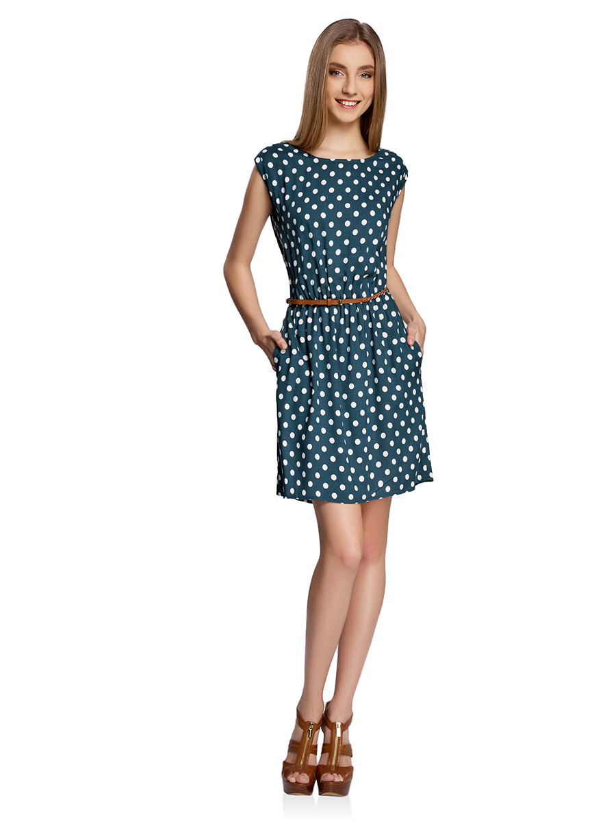 Платье oodji Ultra, цвет: темно-зеленый, белый. 11910073-2/45470/6912D. Размер 38-170 (44-170)11910073-2/45470/6912DПлатье oodji Ultra выполнено из легкой струящейся ткани и оформлено оригинальным принтом. Модель мини-длины с круглым вырезом горловины и короткими рукавами дополнена двумя прорезными карманами на юбке.В комплект с платьемвходит узкий ремень из искусственной кожи с металлической пряжкой.