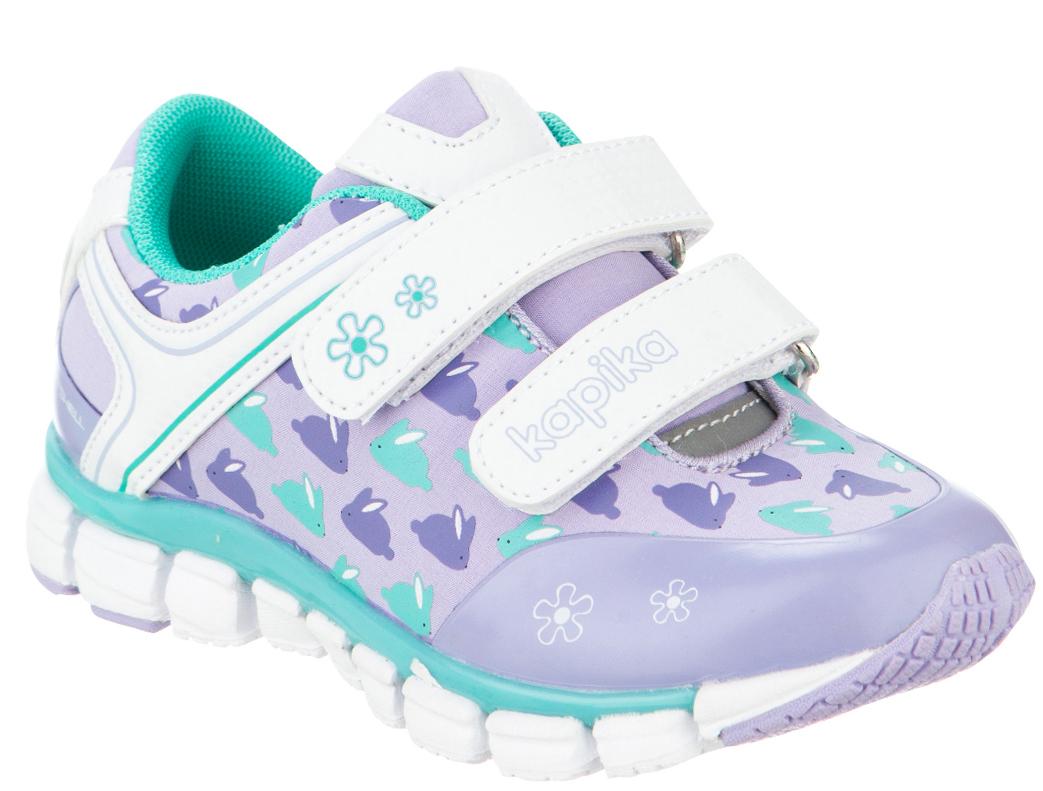 Кроссовки для девочки Kapika, цвет: сиреневый, белый. 71084с-2. Размер 2471084с-2Удобные и стильные кроссовки для девочки Kapika прекрасно подойдут вашему ребенку для активного отдыха и повседневной носки. Верх модели выполнен из искусственной кожи и текстиля. Стелька изготовлена из натуральной кожи, благодаря чему обувь дышит, что обеспечивает идеальный микроклимат. Подкладка из хлопка обеспечивает дополнительный комфорт для детской ножки. Для удобства обувания и надежной фиксации стопы на подъеме имеются два ремешка на липучках. Рельефная подошва не скользит и обеспечивает хорошее сцепление с поверхностью. Кроссовки оформлены принтом и логотипом бренда. В них ногам вашего ребенка,будет комфортно и уютно!