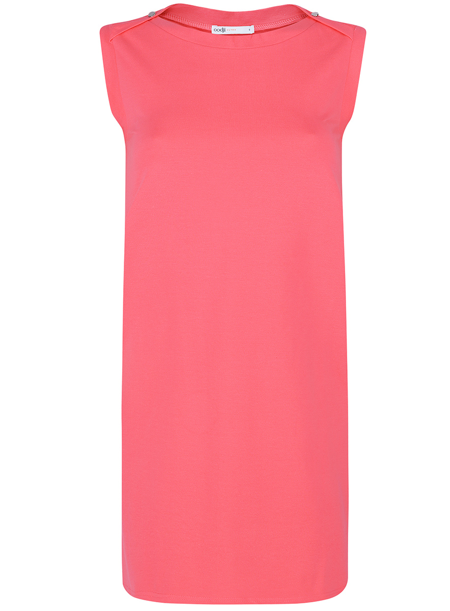 Платье oodji Ultra, цвет: ярко-розовый. 14005074-1B/46149/4D00N. Размер L (48-170)14005074-1B/46149/4D00NПлатье без рукавов oodji Ultra прямого кроя выполнено из плотной хлопковой ткани пике и оформлено декоративными пуговицами на воротнике. Модель мини-длины с круглым вырезом горловины дополнена двумя прорезными карманамипо бокам юбки.