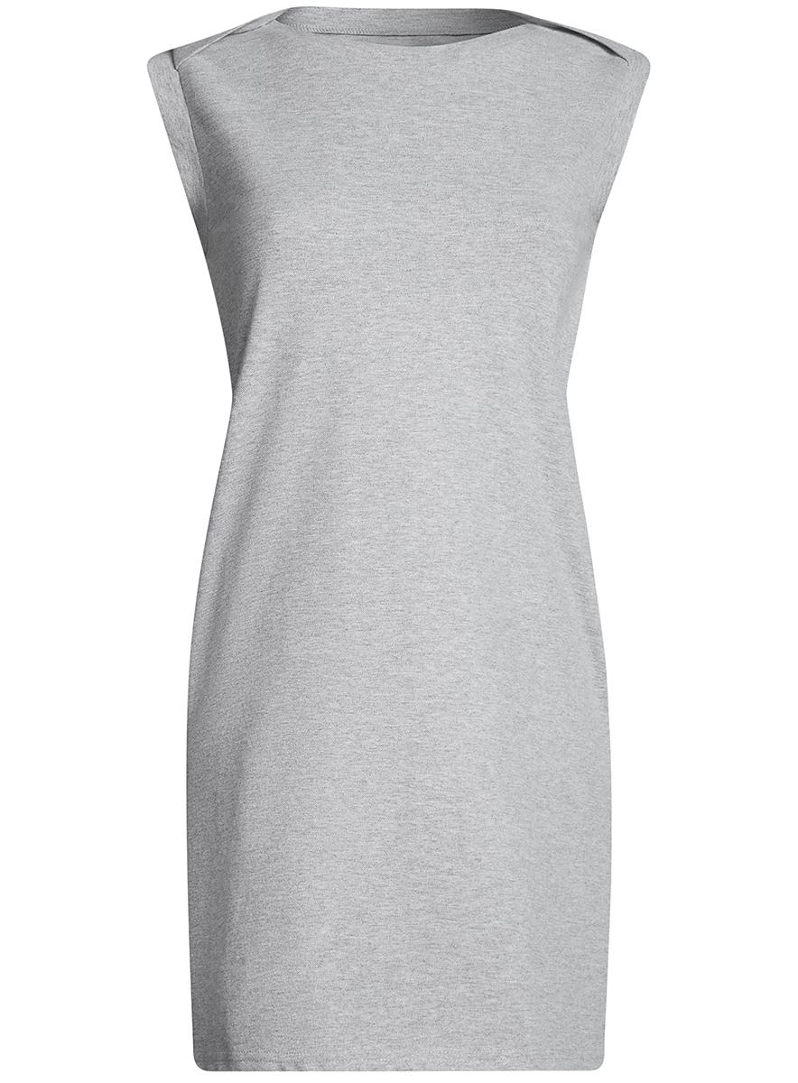 Платье oodji Ultra, цвет: серый меланж. 14005074-1B/46149/2300M. Размер M (46-170)14005074-1B/46149/2300MПлатье без рукавов oodji Ultra прямого кроя выполнено из плотной хлопковой ткани пике и оформлено декоративными пуговицами на воротнике. Модель мини-длины с круглым вырезом горловины дополнена двумя прорезными карманамипо бокам юбки.