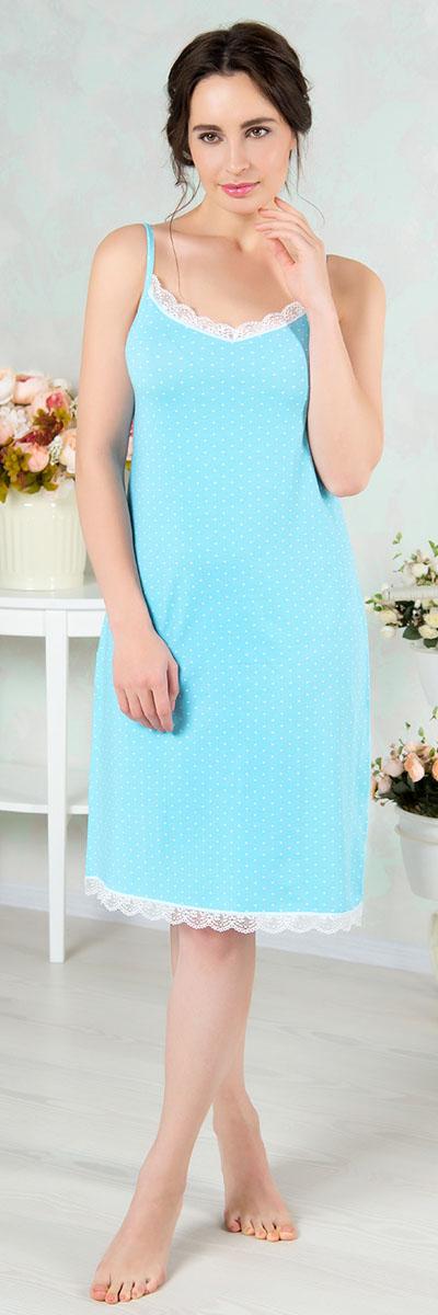 Ночная рубашка женская Mia Cara, цвет: голубой. AW16-MCUZ-841. Размер 46/48AW16-MCUZ-841Ночная рубашка Mia Cara изготовлена из высококачественного хлопка с добавлением эластана. Длину бретелек можно регулировать. Горловина и низ изделия дополнены кружевом.
