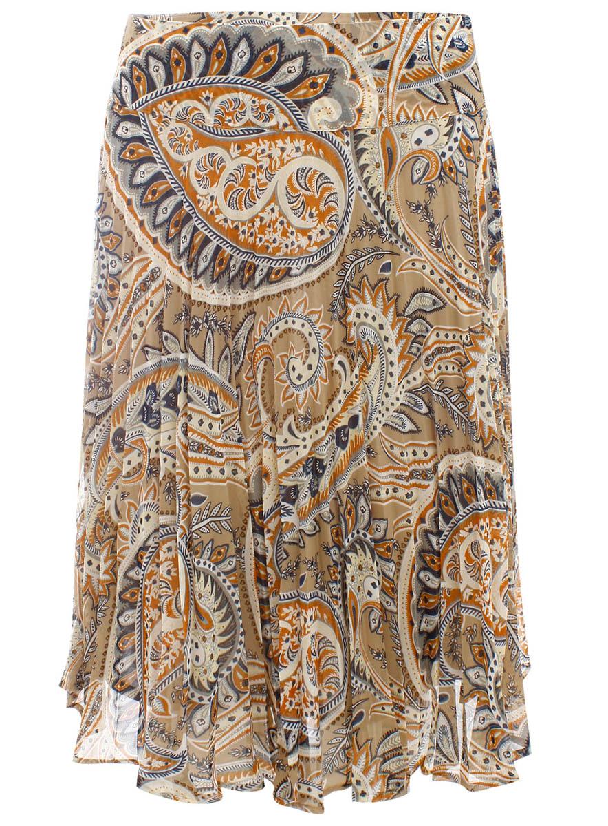 Юбка oodji Collection, цвет: серый, кремовый. 21600237-1/15018/2330E. Размер 38-164 (44-164)21600237-1/15018/2330EОчаровательная юбка средней длины выполнена из высококачественного материала и оформлена оригинальным принтом.