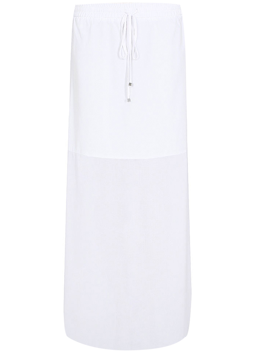 Юбка oodji Collection, цвет: белый. 21600253/19814/1000N. Размер 44-170 (50-170)21600253/19814/1000NДлинная юбка от oodji выполнена из высококачественного материала. На талии модель дополнена затягивающимся шнурком.